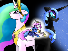 Celestia and Nightmare Moon-Memory by Faith-Wolff