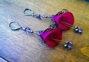 Pink Lucite Flower Antique Bronze Earrings by DesignsByCheree