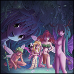 Naga and fairies by Karbo