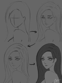 Step by step - Sketching face by shinekoshin