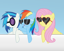 Rainbow Dash, Vinyl Scratch and Fluttershy by romansiii