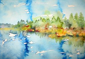 nothing disturbs a focused watercolorist by BlueCaroline