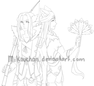 Rune Factory 4: Leon and Dylas Lineart by Mikouchan
