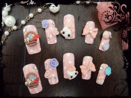 Easter Bunny Kawaii Nail Set by jadelushdesigns