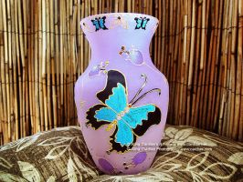 Butterfly Flower / Floral Rhinestone Flower Vase by cardiae