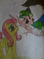 Fluttershy And Luigi by MC-Ash-Tray