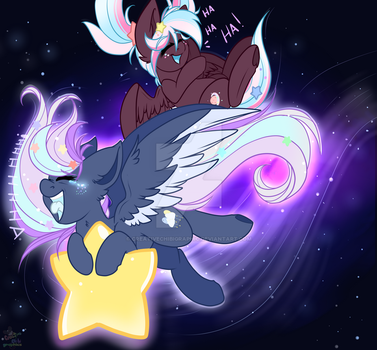 Orbit and Nebula star flying lessons  by CreativeChibiGraphic