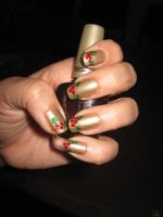 Holly Nail Art by IndigoVelvet