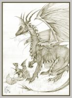 Dragon mother with hatchling by QuantumSuz