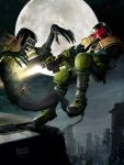 judge dredd vs death digital painting by ryanbrown-colour