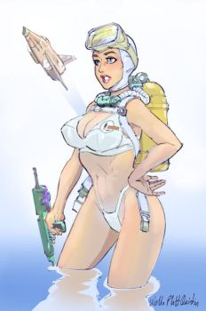 Gerry Andersons UFO - Skydiver pinup by WalterPQ