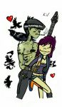 Murdoc and Noodle 2015 drawing by katval1