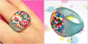 Sprinkle Resin Bauble Ring by bapity88