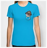Pirate Pepe Pocket Tshirt by Slothgirlart