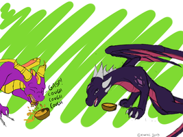 Spyro choking with soup by KiwaTec