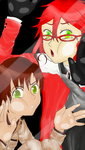Trapped Romano and Grell by WaterElement33