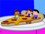 Denson share the pizza to the couples and Quincy by PrinceEithan28