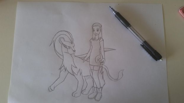 Pyroar with Trainer WIP by Darica89