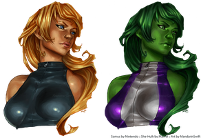 FMIWGPT Preview - Samus and She-Hulk by MandarinSwift