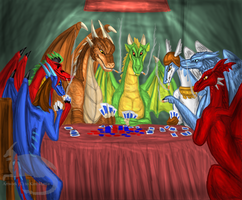 Dragons playing poker by Ravenfire5