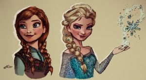 Digital Painting - Frozen - Anna and Elsa by nataliebeth