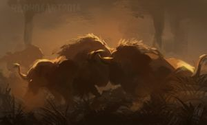 Bison Fight by Raph04art
