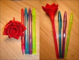 Duct Tape Rose Pen by c1a2t345