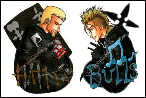 Hatter and Bulls Badges by psycrowe