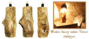 Wooden Indian Lamp Pyrography by ChibiPyro