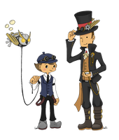 Steampunk : Professor Layton + Luke by Akita48
