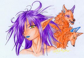 .::Girl with 2 Fox-Wolves::. by WhiteSpiritWolf