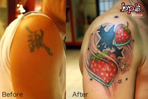 Strawberry tattoo by BPS-TATTOO