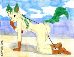 Leafeon on the Beach by devonn