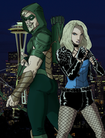 Green Arrow and Black Canary by spriteman1000