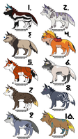 OPEN: Chibi Wolf Adoptables //10pts each// by Linden-Adopts