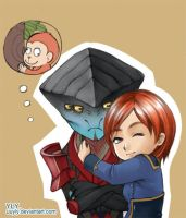 Javik and monkey Shepard by uuyly