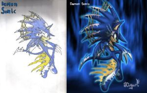 Demon Sonic Drawn and Original by Flip0024