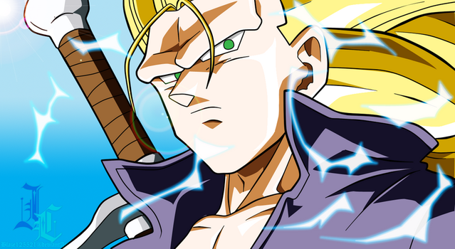 Pen Tool Practice: SSJ3 Trunks DB Heroes Colored by JamalC157