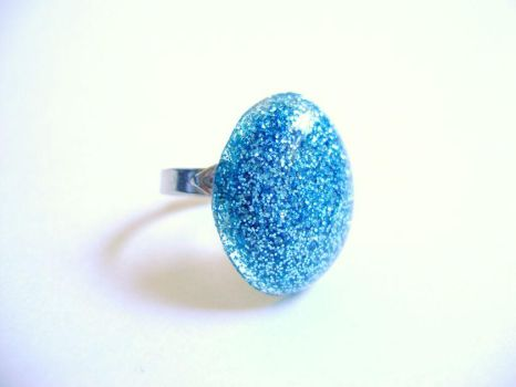 Blue Glitter Ring Oval by evrythngsblue