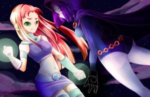 Starfire and Raven by Haylau