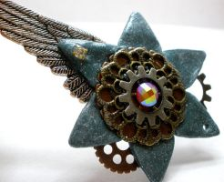 Steampunk Gear Flower Necklace Pendant by Brisbykins