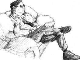 Dad watching TV by Quazplam