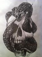 Snake and Skull by Hukkahurja