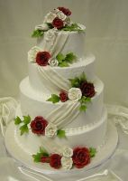 Rose Ribbon Wedding Cake by xXx--Kawaii--xXx