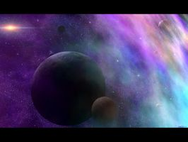 Moons Of The Rainbow Nebula by Casperium