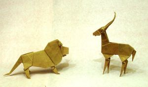 Origami Lion and gazelle by Orestigami