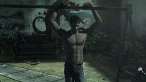 Dante shirtless in playground by ralvuimago