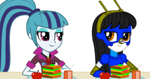 Sonata and Melina ate lunches as secret friends by Magic-Kristina-KW