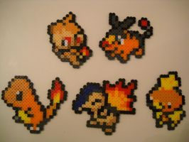 Fire Type Pokemon Starters Gen I through V by RetroNinNin