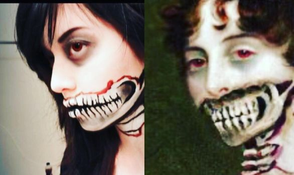 Pride and prejudice and zombies face painting  by CourtneeComplex